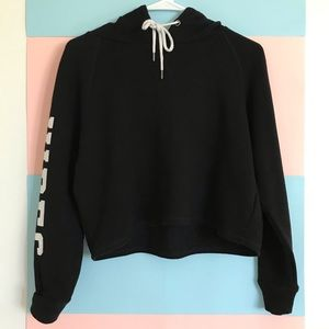 "[Crop Sweater] ""Cool Vibes"" Black hooded Crop Top"